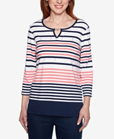 Alfred Dunner Petite Smooth Sailing Keyhole Striped Top