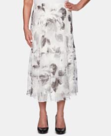 Alfred Dunner Petite Versailles Tiered Midi Skirt