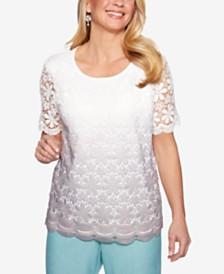 Alfred Dunner Petite Versailles Crochet Top