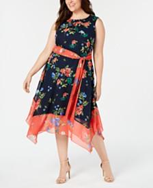 Jessica Howard Plus Size Floral Colorblocked A-Line Dress
