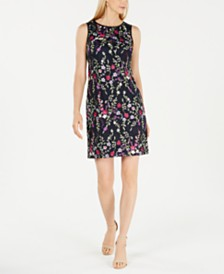 Jessica Howard Petite Floral Embroidered Illusion Dress