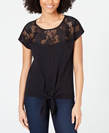 I.N.C. Lace-Trim Tie-Front Top, Created for Macy's