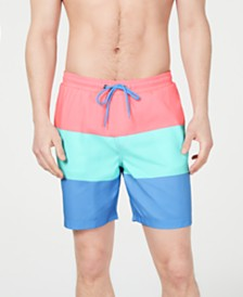 "Club Room Men's Colorblocked 7"" Swim Trunks, Created for Macy's"