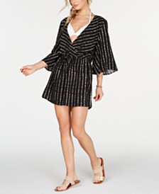 Bar III Dot-Stripe Flutter-Sleeve Tunic Cover-Up, Created for Macy's