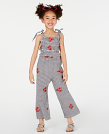 Rare Editions Toddler Girls Embroidered Gingham Jumpsuit
