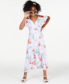 Rare Editions Big Girls Floral-Print Wrap Dress