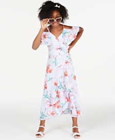 Rare Editions Big Girls Floral-Print Wrap Dress