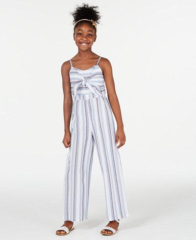 Rare Editions Big Girls Striped Jumpsuit