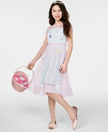 Rare Editions Plus Big Girls Two-Tone Floral Appliqué Fit & Flare Dress, Created for Macy's