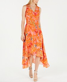 Calvin Klein Petite Floral Printed Wrap Maxi Dress