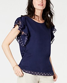 Printed-Trim Flutter-Sleeve Top, Created for Macy's