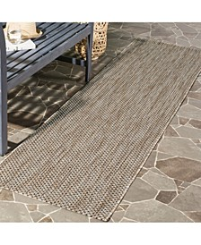 """Courtyard Natural and Black 2'3"""" x 12' Runner Area Rug"""