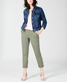 Maison Jules V-Neck T-Shirt, Denim Jacket & Slim Ankle Pants, Created for Macy's