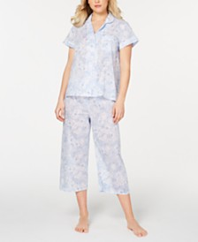 Miss Elaine Notch Collar Top and Cropped Pants Printed Cotton Pajama Set