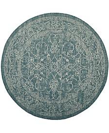 "Courtyard Turquoise 6'7"" x 6'7"" Sisal Weave Round Area Rug"