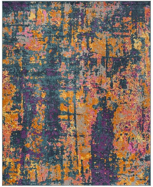 Safavieh Madison Blue and Orange 8' x 10' Area Rug