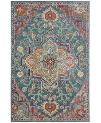 Crystal Teal and Rose 4' x 6' Area Rug
