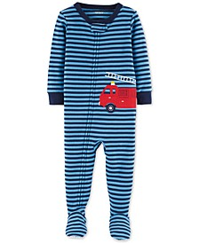 Baby Boys Fire Truck Footed Cotton Pajamas