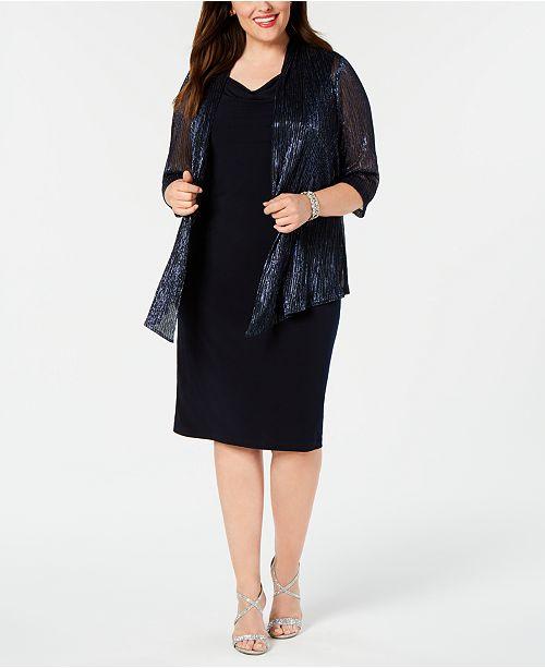 Connected Plus Size Sheath Dress & Metallic Jacket