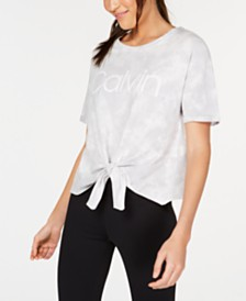 Calvin Klein Performance Tie-Dyed Logo Tie-Front T-Shirt