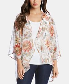 Karen Kane Floral-Print Open-Front Kimono
