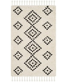 "Safavieh Moroccan Fringe Shag Cream and Charcoal 2'3"" X 5' Area Rug"