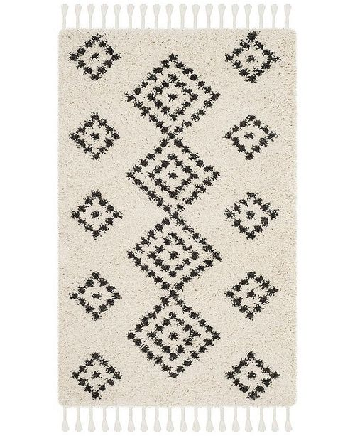 "Safavieh Moroccan Fringe Shag Cream and Charcoal 2'3"" X 5' Area Rug"