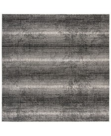 """Lurex Black and Ivory 6'7"""" x 6'7"""" Square Area Rug"""