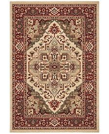 """Mahal Creme and Red 6'7"""" x 6'7"""" Round Area Rug"""