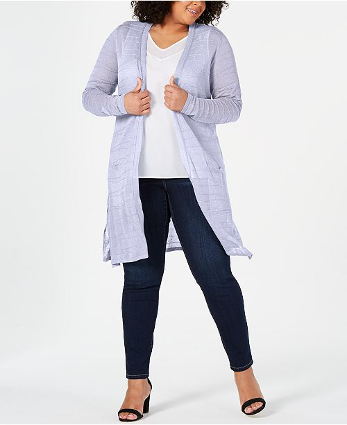 Belldini Plus Size Textured Open-Front Cardigan