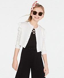 Big Girls Ruffle Shoulder Cropped Cardigan, Created for Macy's