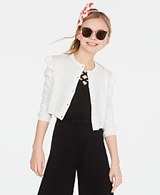 Epic Threads Big Girls Ruffle Shoulder Cropped Cardigan, Created for Macy's