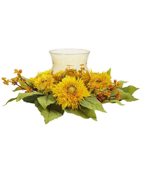 Nearly Natural Golden Sunflower Candelabrum Silk Flower Arrangement