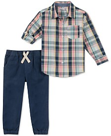 Earth Wood Baby Boys 2-Pc. Plaid Shirt & Pants Set