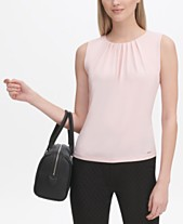 4717c8d74f98f Calvin Klein Pleated-Neck Sleeveless Top