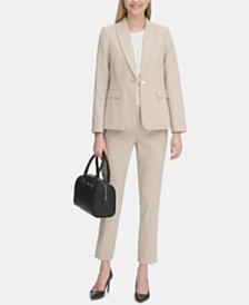 Calvin Klein Seersucker One-Button Blazer & Seersucker Ankle Pants