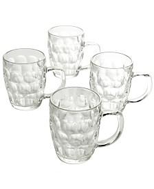 4 Piece 18 Ounce Glass Beer Mug Set