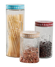 3 Piece Canister Set with Decorated Steel Lids