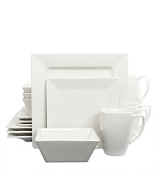 White Diamond 16 Piece Dinnerware Set, Hard Square