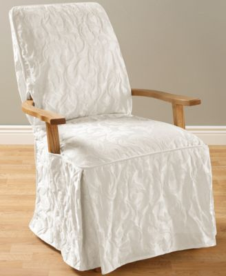 Matelasse Damask Dining Room Chair Slipcover