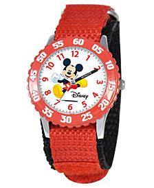 Disney Watch, Kid's Mickey Mouse Time Teacher Red  Strap 31mm W000003