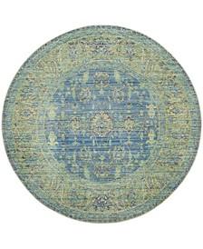 "Valencia Blue and Multi 6'7"" x 6'7"" Round Area Rug"