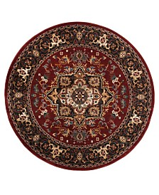 "Safavieh Summit Red and Dark Gray 6'7"" x 6'7"" Round Area Rug"