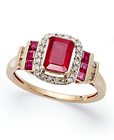 Ruby (1-5/8 ct. t.w.) and Diamond (1/5 ct. t.w.) Ring in 14k Rose Gold