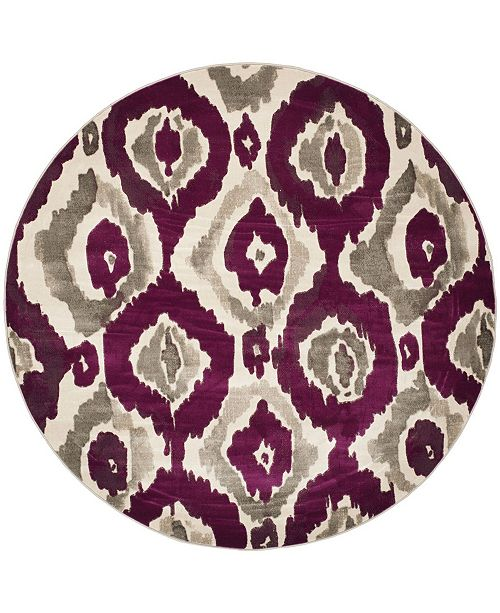 "Safavieh Porcello Ivory and Purple 6'7"" x 6'7"" Round Area Rug"