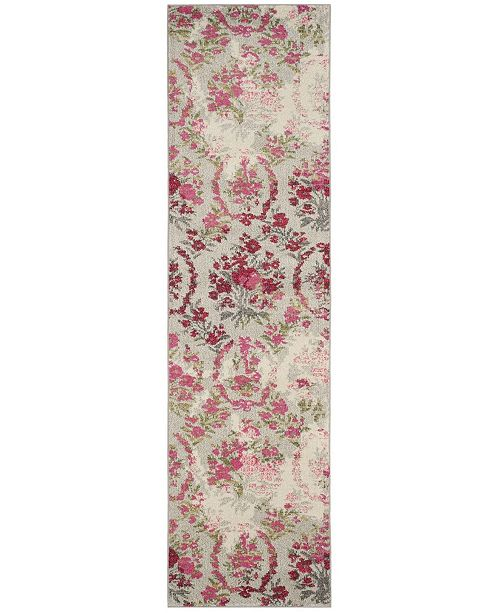 "Safavieh Monaco Ivory and Pink 2'2"" x 8' Runner Area Rug"