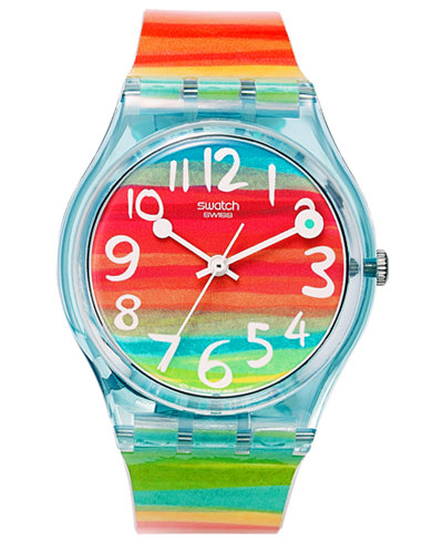 swatch watch unisex swiss color the sky rainbow plastic strap 34mm gs124 - Color Watches