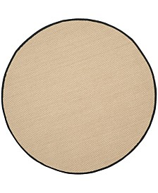 Safavieh Natural Fiber Maize and Black 6' x 6' Sisal Weave Round Area Rug