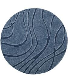 "Shag Light Blue and Blue 6'7"" x 6'7"" Round Area Rug"