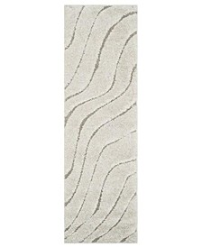 "Shag Cream and Beige 2'3"" x 7' Runner Area Rug"